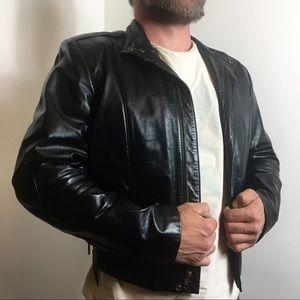 Wilsons Leather Men's Black Biker Jacket 40/M VTG